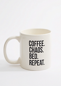 Coffee. Chaos. Bed. Repeat Oversized Mug