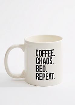 Coffee. Chaos. Bed. Repeat Oversized Mug