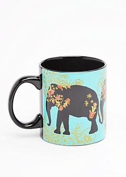 Turquoise Glitter Boho Elephant Oversized Mug
