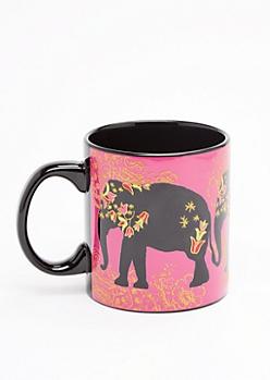 Pink Glitter Boho Elephant Oversized Mug