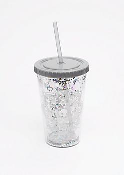 Silver Glitter Mandala Tumbler