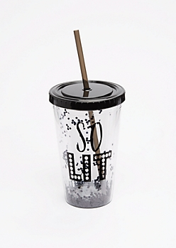 Black Glitter So Lit Tumbler