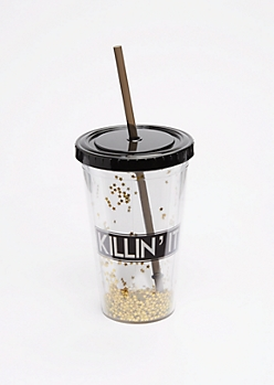 Gold Glitter Killin It Tumbler