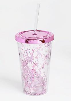 Pink Metallic Glitter Tumbler