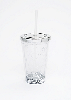 Silver Confetti & Metallic Lid Tumbler