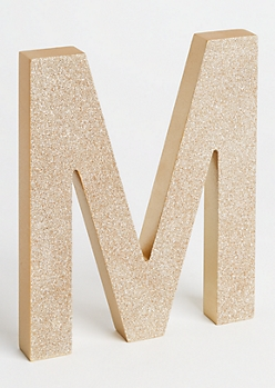 M Gold Glittering Box Sign