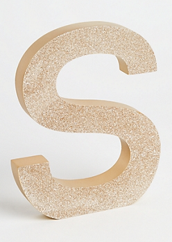 S Gold Glittering Box Sign