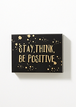 Stay Positive Metallic Box Wall Art