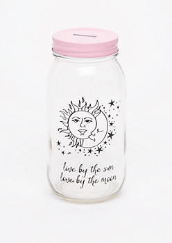Live By The Sun Mason Jar Bank