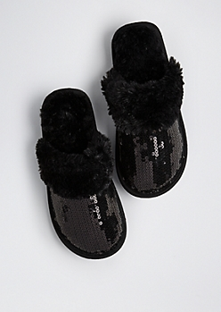 Sequined Faux Fur Slippers