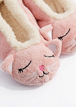 Sleeping Kitten Sherpa Slipper