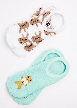 2-Pack Gingerbread Man Slipper Sock