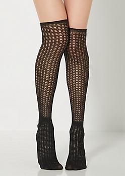 Black Open-Knit Over-The-Knee Socks