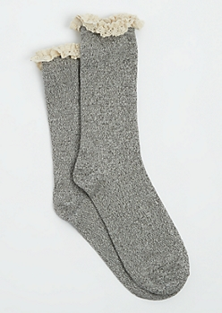 Gray Ruffled Lace Trim Socks