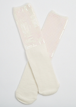 Ivory Sequin Boot Socks