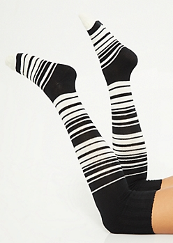 Black Striped Over The Knee Socks