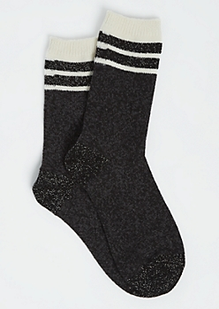 Striped Metallic Black Crew Socks