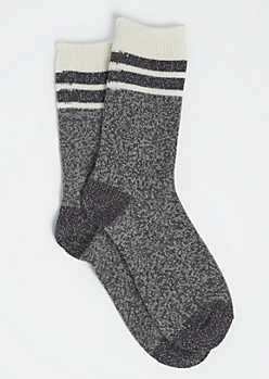 Striped Metallic Gray Crew Socks