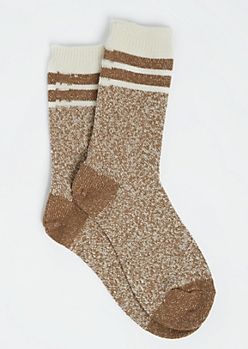 Striped Metallic Nude Crew Socks