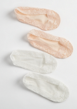 2 Pack White & Pink Lace Shoe Liners