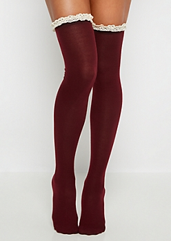 Burgundy Crochet Ruffled Over-The-Knee Socks