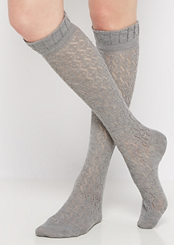 Gray Geo Pointelle Knee-High Socks