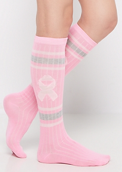 Pink Ribbon Knee High Socks