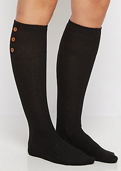 Black 3-Button Waffle Ribbed Knee Socks