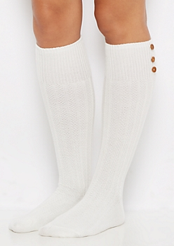 Ivory 3-Button Waffle Ribbed Knee Socks