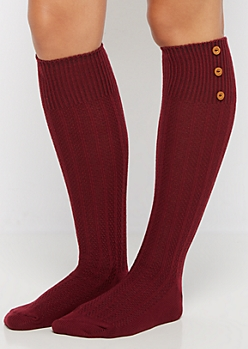 Burgundy 3-Button Waffle Ribbed Knee Socks