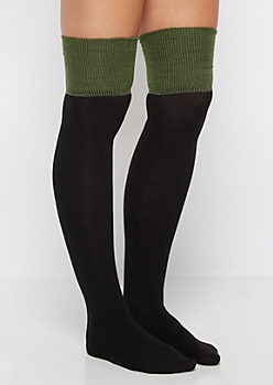 Black Color Block Over-The-Knee Socks