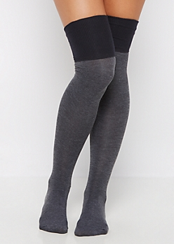 Gray Color Block Over-The-Knee Socks