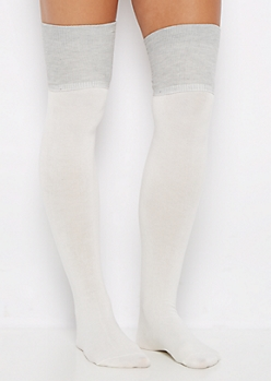 Ivory Color Block Over-The-Knee Socks