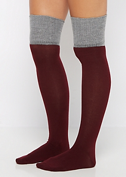 Burgundy Color Block Over-The-Knee Socks