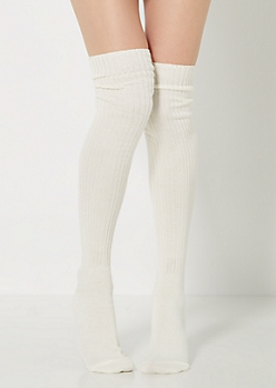 Ivory Ribbed Knit Over-The-Knee Socks