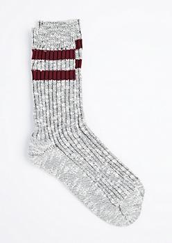 Burgundy Double Striped Marled Crew Socks
