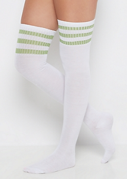 Olive Striped Over-The-Knee Socks