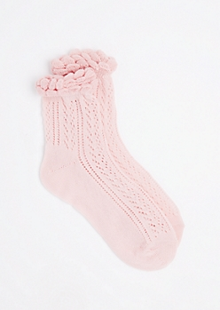 Pink Pointelle Ruffle Ankle Sock