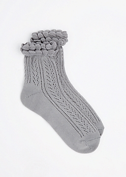 Gray Pointelle Ruffle Ankle Sock