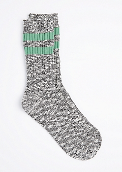 Green Double Striped Marled Crew Socks