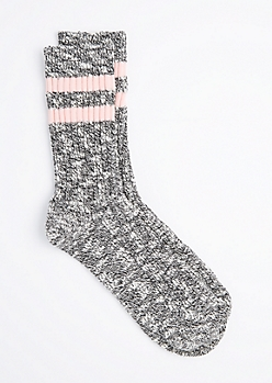 Pink Double Striped Marled Crew Socks