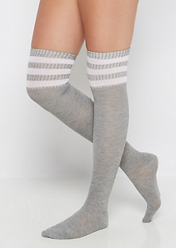 Pink Striped Over-The-Knee Socks