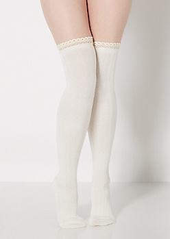 Ivory Ruffled Crochet Over-The-Knee Socks