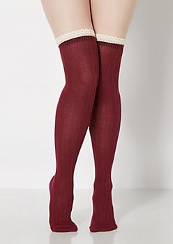 Burgundy Ruffled Crochet Over-The-Knee Socks