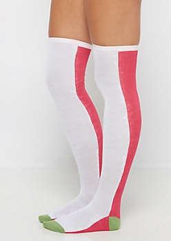 Fuchsia Color Blocked Over-The-Knee Socks