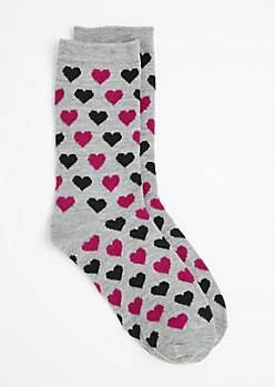 Purple & Black Heart Crew Socks