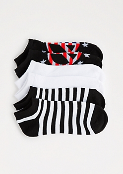 3-Pack Striped Peace Sign No-Show Socks