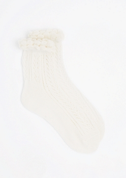 Ivory Pointelle Ruffle Ankle Sock