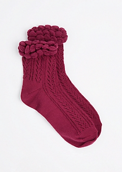 Burgundy Pointelle Ruffle Ankle Sock