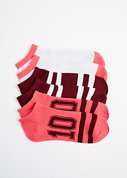 3-Pack Athletic Striped No-Show Socks